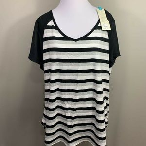 Livi Active Womens Blouse Black White Stripe 18 20